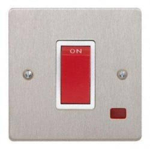 45A Satin Chrome Cooker Switch with Neon 1 Gang