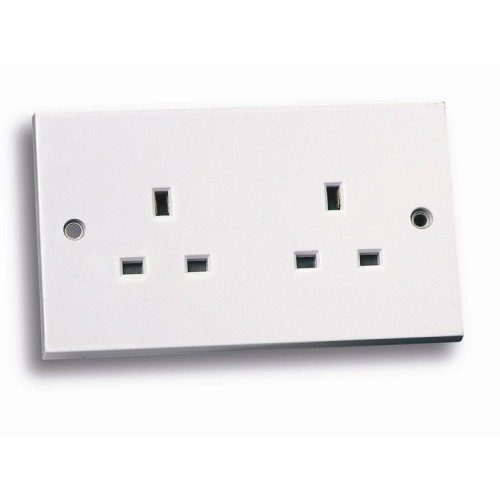 Standard white 2 gang unswitched socket