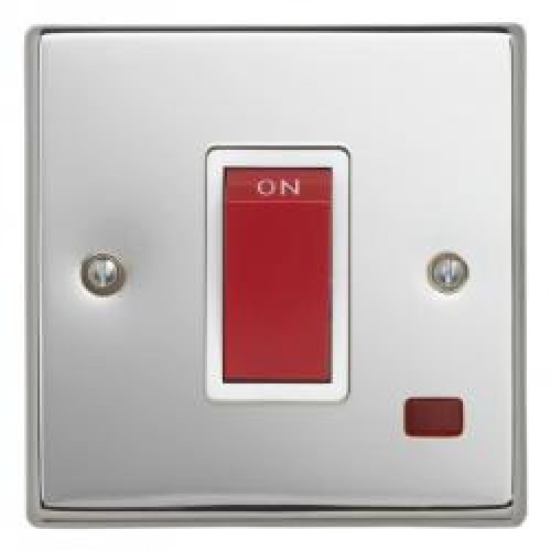 45A Polished Chrome Cooker Switch with Neon 1 Gang