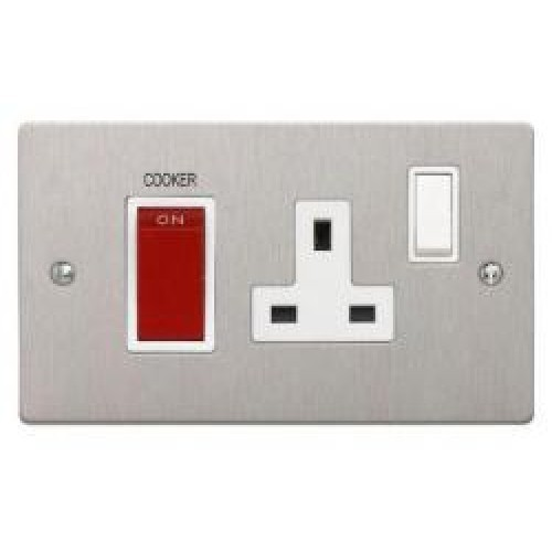 Satin Chrome Cooker Control Unit 45A Cooker Switch + 13A Socket
