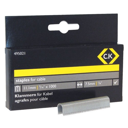 C.K Cable staples 7.5mm wide x 11.1mm deep Box Of 1000