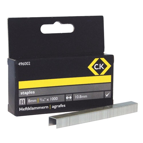 C.K Staples 10.5mm wide x 8mm deep Box Of 1000
