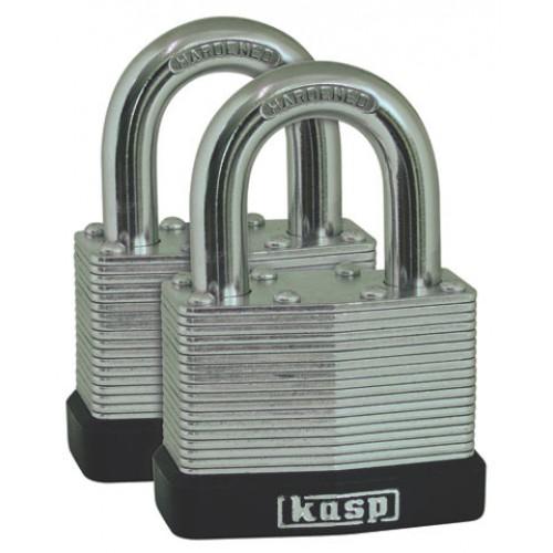 Kasp 130 Series Laminated Steel Padlock 50mm Twin Pack