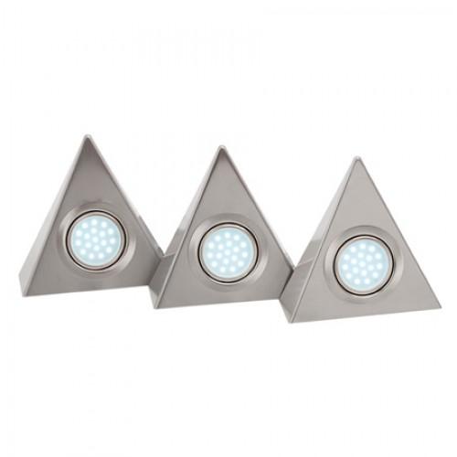 Cabinet Lights LED Triangular Kit White - Satin Chrome