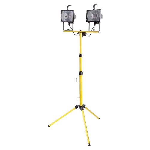 Site Lights - Portable Yellow 1K Halogen Twin 110V Floodlight Tripod