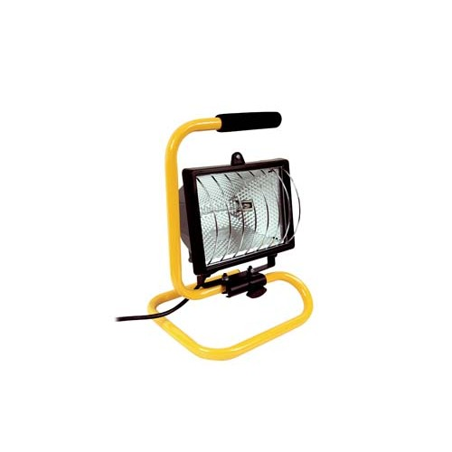 Site Lights - Portable Yellow 500w Halogen 230V Floodlight with Grill