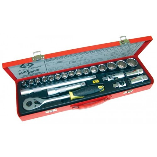 "C.K Sure Drive 22 Piece Socket Set 1/2"" Drive"