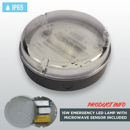 black-circular-bulkhead-15w-emergency-led-lamp-microwave-sensor