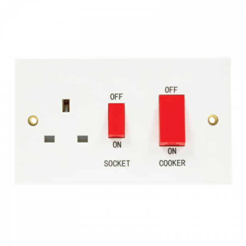 Standard white 45A DP Cooker control switch and socket