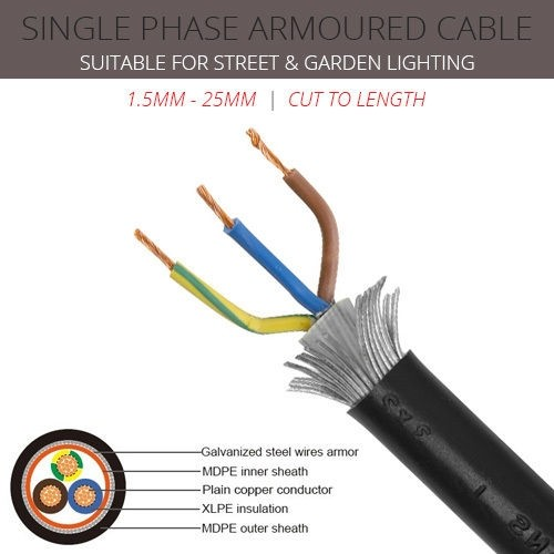 25mm x 3 core Single Phase Armoured Cable per metre
