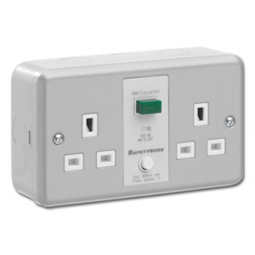 SafetySure Metalclad Unswitched RCD Twin Socket