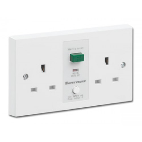 SafetySure White Unswitched RCD Twin Socket