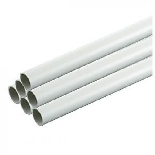 Plastic Round Conduit 20mm x 3M Length Pack of 30 White