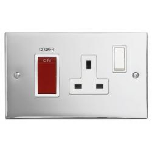 Polished Chrome Cooker Control Unit 45A Cooker Switch + 13A Socket