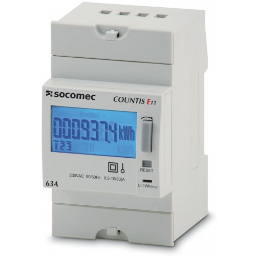 Socomec COUNTIS E11 63A Single Phase Direct Connection Dual Tariff with Pulse Output