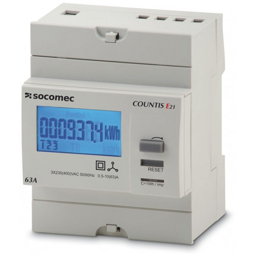 Socomec COUNTIS E21 63A 3-Phase Direct Connection Dual Tariff with Pulse Output