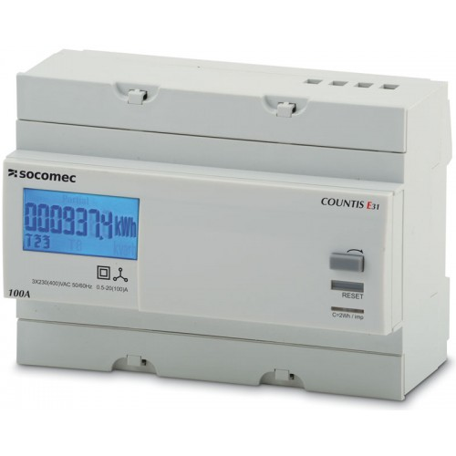 Socomec COUNTIS E33 100A 3-Phase Direct Connection Dual Tariff with Pulse Output and Modbus