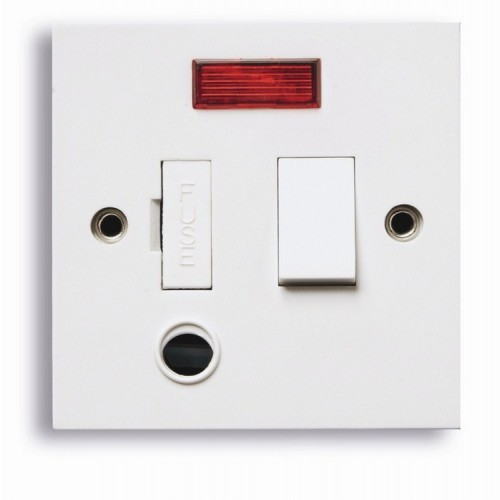 Standard white 13A Switched fuse spur with neon