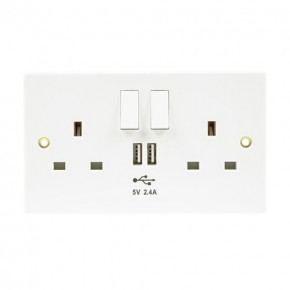 2 Gang 13A Switched Socket White with 2 x USB Socket